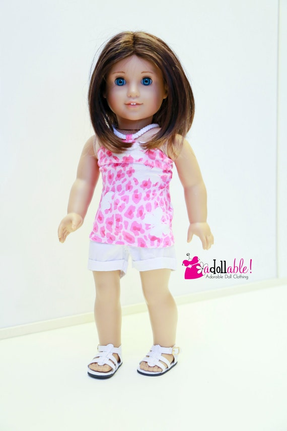 American Girl Doll Clothes, Pink Leopard Spotted Knit Halter Top and White Cotton Shorts
