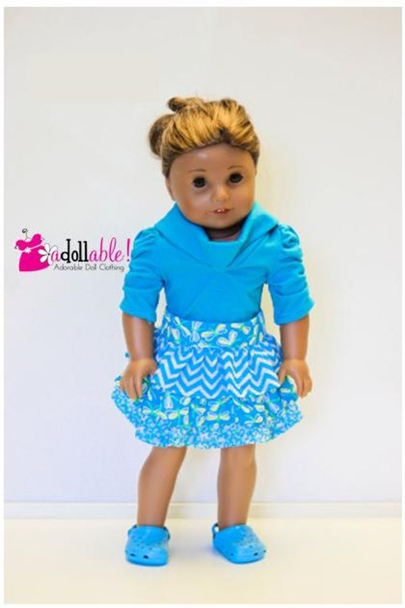 American Girl Doll Clothes, Turquoise Little Boutique Skirt and Turquoise Muse Shirt