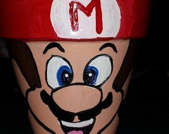 Mario Brothers Terra Cotta Pot