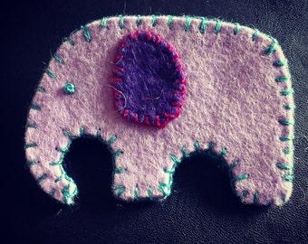 Purple felt elephant brooch