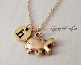 Gold Hippo Necklace - Open-mouth Hippopotamus Charm - Initial Necklace - Antique Gold Pewter Jewelry