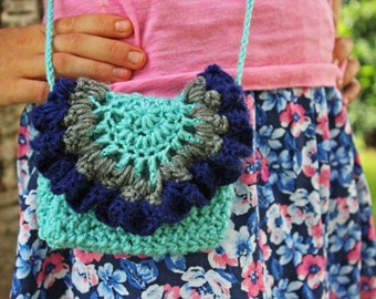 crochet ruffled doily bag