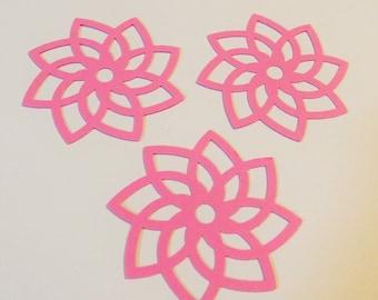 24 Filigree Flower Die Cuts  - Pink Cardstock - Favor Tags - Card Making - Scrapbooking - Cupcake Toppers