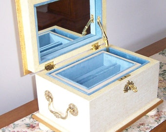 Antique White Mirrored Jewelry Box with Tray
