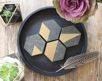 Gold & Black Stone Mixed Geo Hexagon Coasters  (Set of 4)