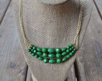 Green and Gold Layered Necklace