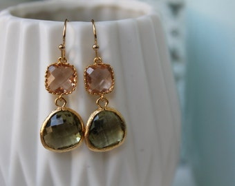 Olive/KHAKI & GOLD gold gold plated 16 k) earrings with pale pink and olive green glass pendant