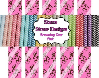 Make your own paper straws with these printouts... Paper straws printable browning pink camo