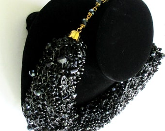 FREE SHIPPING!!! Black beaded necklace, jewelry beaded, necklace crochet beaded, elegant necklace, necklace with stones and beads