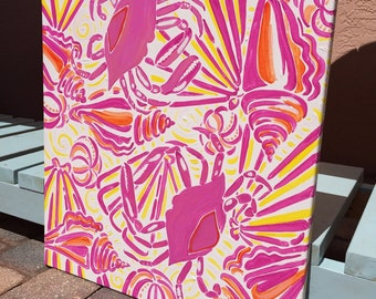 Pink and yellow Crab and Shell handpainted canvas