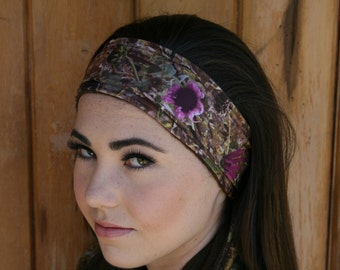 Sunflower Camo Polar Fleece Ear Warmer/Headband Pink Accented