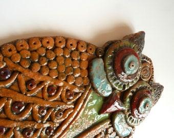 Seramik baykuş duvar panosu / Ceramic owl wall hanging