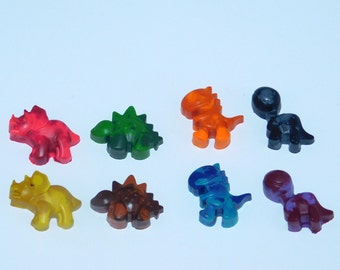 8 Rainbow Dinosaur Recycled Crayons/Party Favors/Birthday Gifts