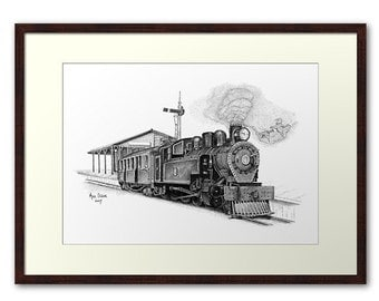 Fine art print - Steam Train (Locomotive) stippling drawing