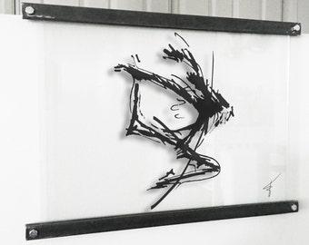 LEAP - Silhouette sketch set in custom float frame