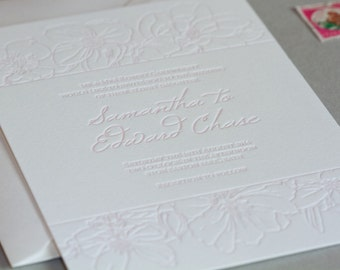 Letterpress Wedding Invitation invite Bespoke custom stationery soft floral feminine pretty pink suite - Grace - The Whistle Press
