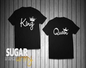 King queen shirts, King and Queen shirts, queen king matching couple shirts, couple shirts, st valentine gift, matching shirts for couples