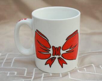 Cup red loop hand painted