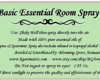 Room Spray, Room Freshener, Freshener Spray, Essential Oil Room Spray, Essential Oil Spray, All Natural Room Spray,Eucalyptus & Spearmint