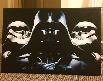 Star Wars Canvas Print - Darth Vader and Stormtroopers - Various Sizes - Deathstar - The Empire Strikes Back