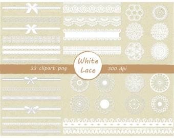 33 clip art White Lace - instant download digital file - PNG