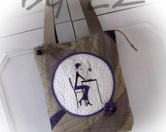 bag with embrodiery,patchwork bag, handmade bag