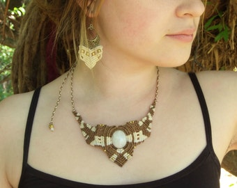 Magical Moonstone macrame necklace brown beige with small brass beads