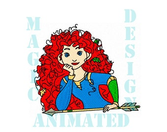 Brave Princess Merida Machine Embroidery Design in 3 sizes ---Instant download---