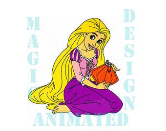 Rapunzel Princess Machine Embroidery Design in 4 sizes ---Instant download---