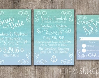 Customize Watercolor Save the Date, Wedding Invitation and RSVP card- Ocean Blue Collection- Print Your Own