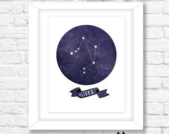 Libra Constellation Art Print, Instant Download, Printable Wall Art, Wall Decor, Zodiac Art, Horoscope Art Print, Libra Wall Art