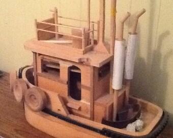"Handmade cedar tugboat about 18"" long"