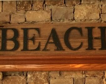 Beach Reclaimed Barnwood Sign