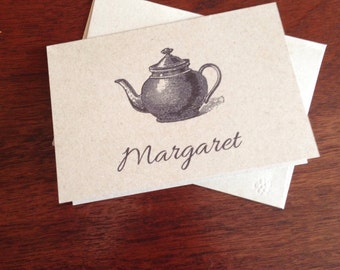 Tea Pot Personalized Note Cards (set of 10)