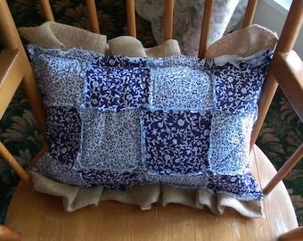 Burlap ruffle adorns this purple rag style pillow