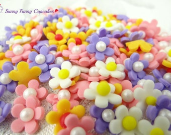 36 Mix edible sugar flowers cupcake decorations cake toppers sprinkles