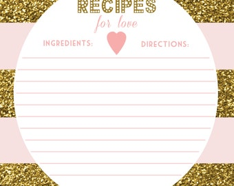 Pink and Gold Glitter Recipe Card