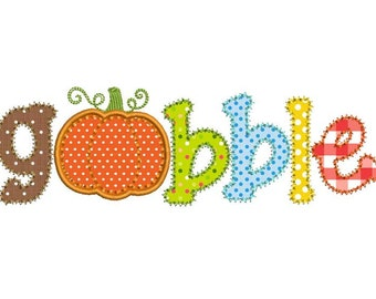 Gobble Thanksgiving Applique Machine Embroidery Design 009