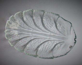 "Orrefors ""Eden"" leaf shaped glass platter"