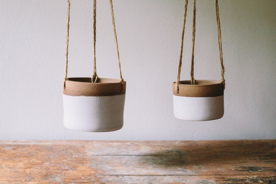 Like this item? - Ceramic Hanging Planter Matte White Planter Succulent
