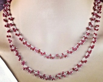 Delicate hand-made gemstone necklace 925 Silver rubies
