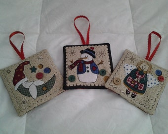 Quilted Christmas Ornament -Set of 3