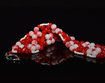 FT399 Red and White Checkers Bracelet, Size 6 3/4""