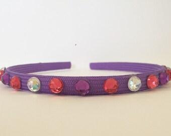 "Purple Pink and White Hard Headband - ""Rapunzel"""