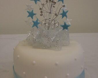 Heart or Star Burst - Christening, Diamante Pram Cake Topper