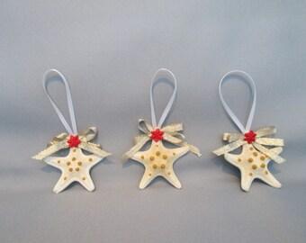 Free Shipping  Starfish Christmas Ornaments, set of 3  (1774)