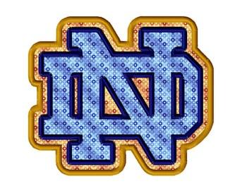 ND 2 Applique Machine Embroidery Design 4x4 5x7 6x10 Notre Dame INSTANT DOWNLOAD