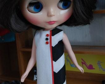 Custom Blythe dress Zebra Zing