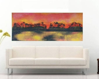 Large Abstract SUNSET, XXL Abstract Painting, Acrylic Modern Art, Wall Decor, Large Painting,  Zhanna Ozolina