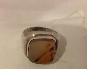 MONTANA AGATE Sterling Silver Ring...Size 7-3/4